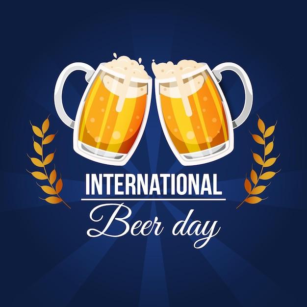 Dia internacional da cerveja com pintas e espuma Vetor grátis