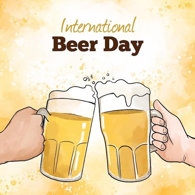 Dia internacional da cerveja com pintas Vetor grátis