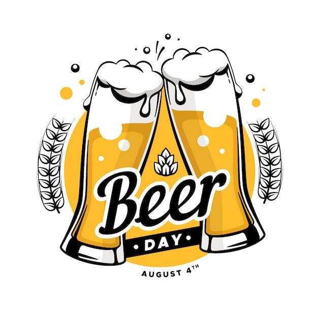 Dia internacional da cerveja desenhada de mão Vetor Premium