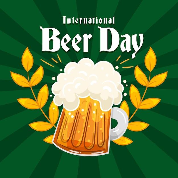 Dia internacional da cerveja desenhada de mão Vetor grátis