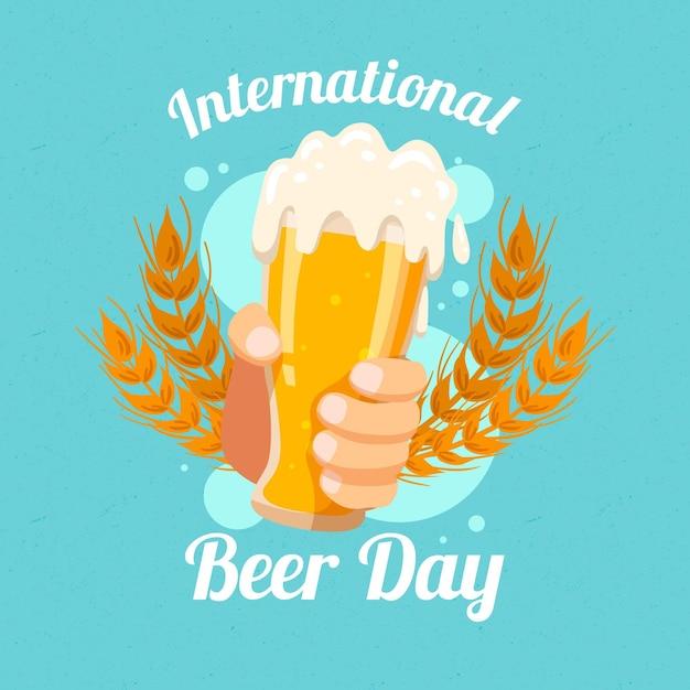 Dia internacional da cerveja desenhar conceito Vetor grátis