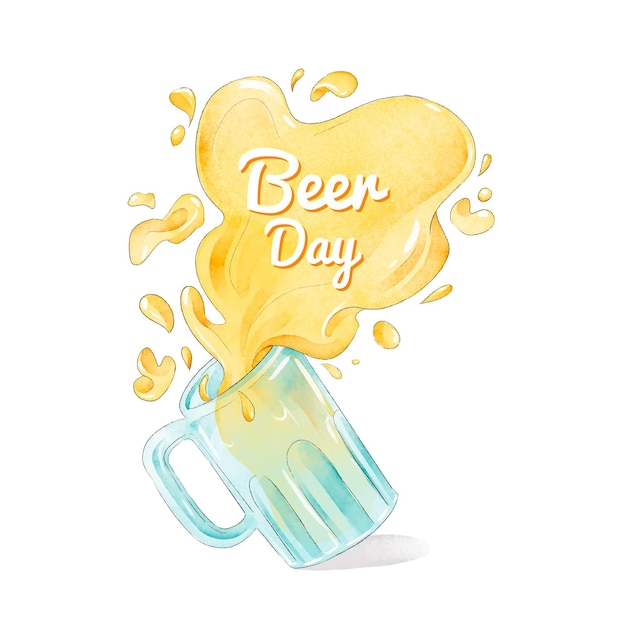 Dia internacional da cerveja design aquarela Vetor grátis