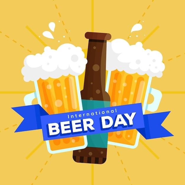 Dia internacional da cerveja design plano Vetor grátis