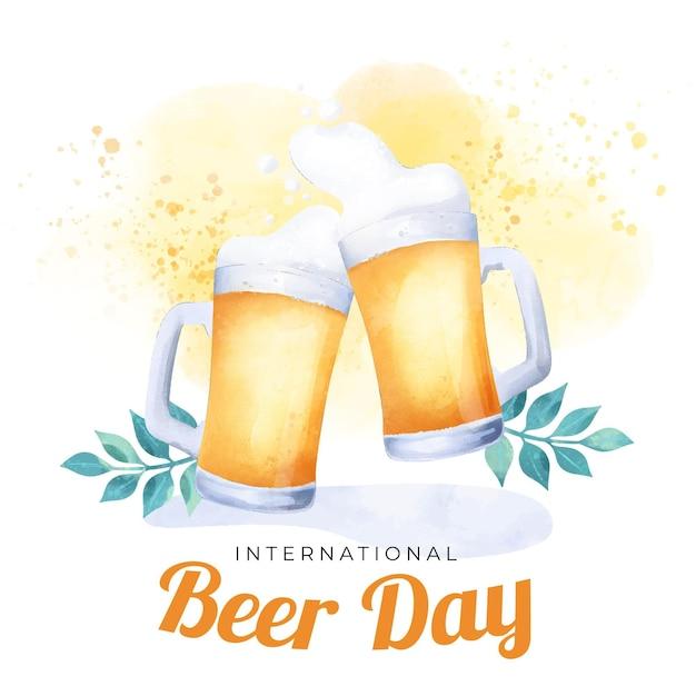 Dia internacional da cerveja em aquarela Vetor grátis