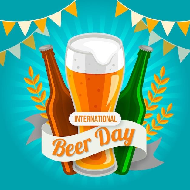 Dia internacional da cerveja em design plano Vetor grátis