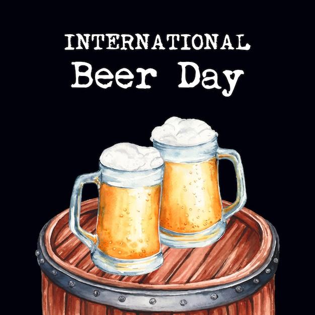 Dia internacional da cerveja em estilo aquarela Vetor grátis