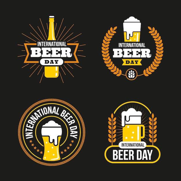 Dia internacional da cerveja emblemas em design plano Vetor grátis