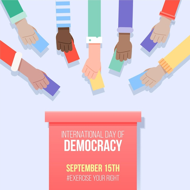 Dia internacional da democracia com votação Vetor Premium