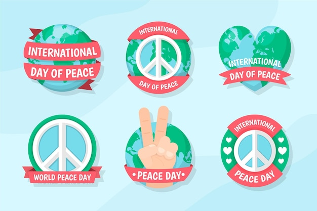 Dia internacional da design plano de coleção de emblemas de paz Vetor grátis