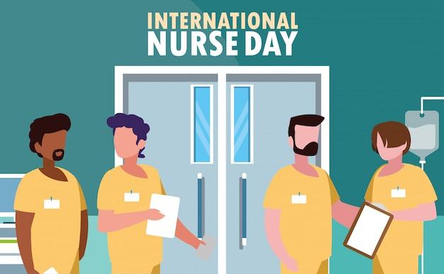 Dia internacional da enfermeira com grupo de profissionais Vetor Premium