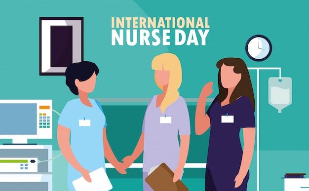 Dia internacional da enfermeira com profissionais do sexo feminino no bloco operatório Vetor Premium