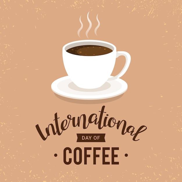 Dia internacional da ilustração do café Vetor grátis