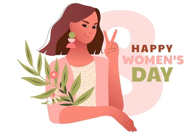 Dia internacional da mulher. 8 de março. mulher sexy feliz fazendo gesto de vitória. modelo com mulheres bonitas Vetor Premium