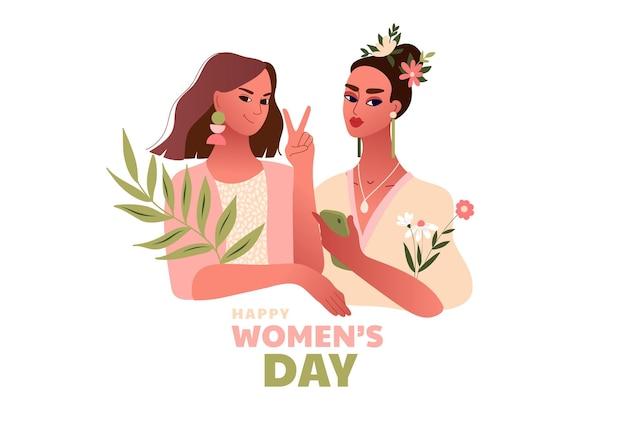 Dia internacional da mulher. 8 de março. mulheres fortes e felizes fazendo gesto de vitória. modelo com mulheres bonitas Vetor Premium