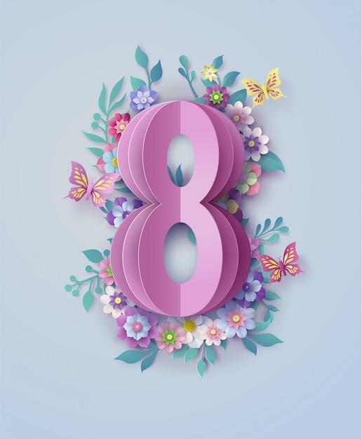 Dia internacional da mulher 8 de março Vetor Premium