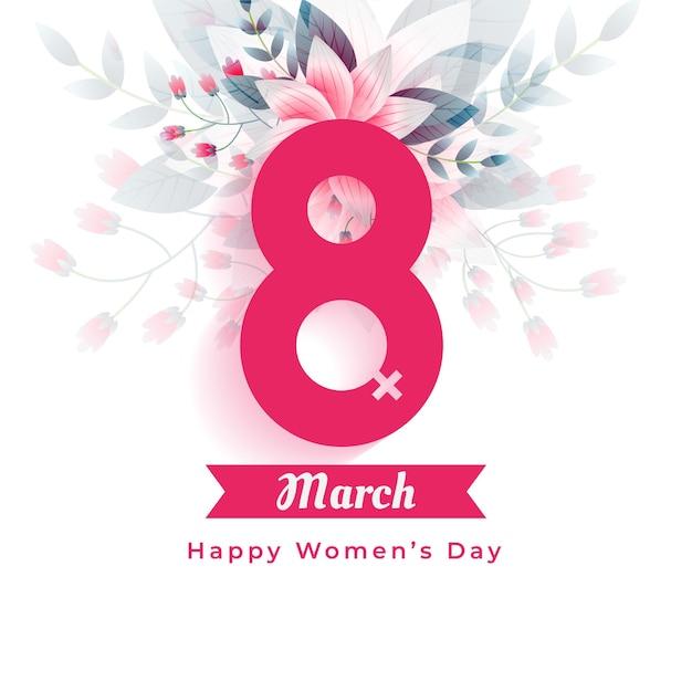 Dia internacional da mulher cumprimentando fundo de flores Vetor grátis