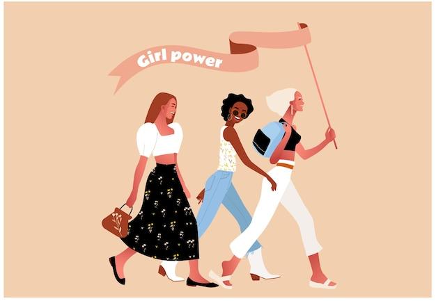 Dia internacional da mulher. poder feminino ou feminista. sexy garotas caminhando. Vetor Premium