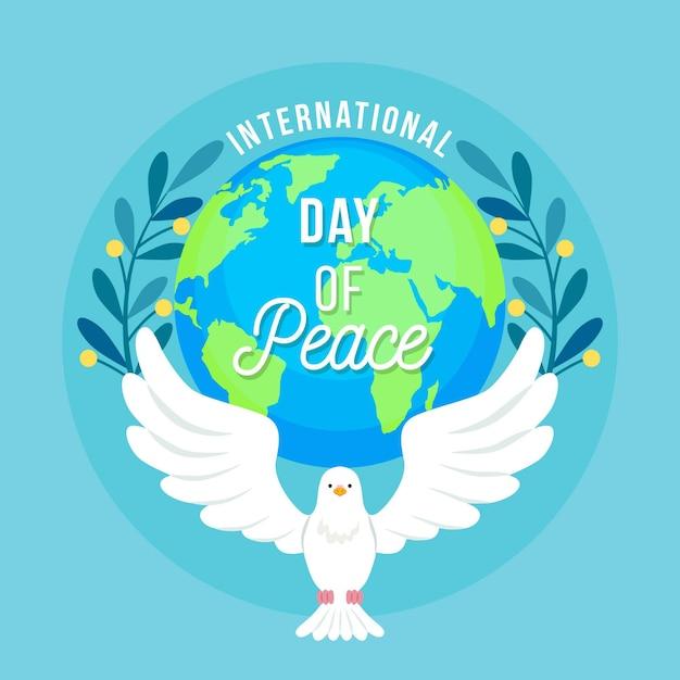 Dia internacional da paz com pomba e terra Vetor grátis