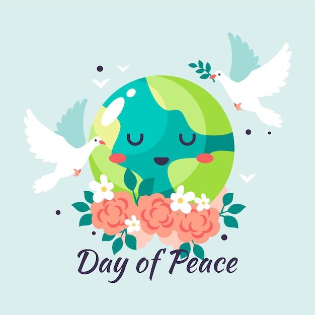 Dia internacional da paz ilustração com cartoon earth Vetor grátis