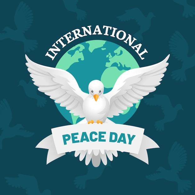 Dia internacional da paz plana Vetor grátis