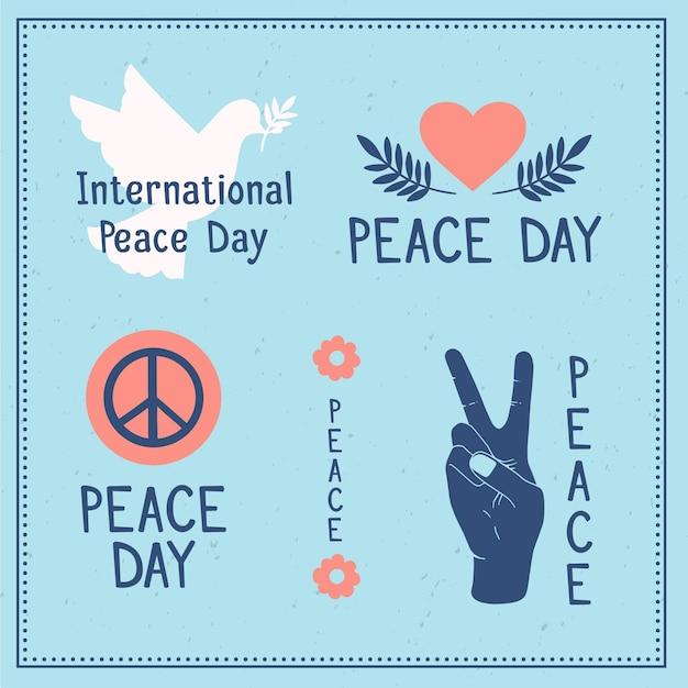 Dia internacional da paz rótulos desenhar tema Vetor grátis