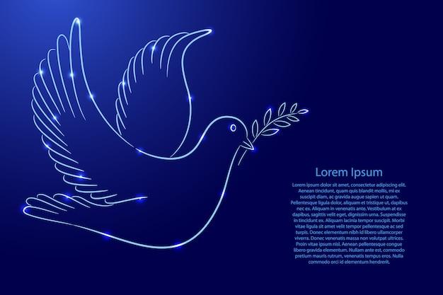 Dia internacional da paz, símbolo da pomba com ramo do contorno clássico linhas de pincel de cor azul espessura diferente e estrelas brilhantes Vetor Premium