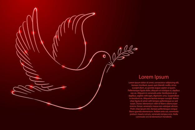 Dia internacional da paz, símbolo da pomba com ramo do contorno clássico linhas de pincel de cor vermelha de espessura diferente e estrelas brilhantes Vetor Premium