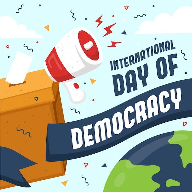 Dia internacional da urna e do megafone de democracia Vetor grátis