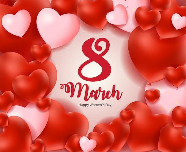 Dia internacional das mulheres feliz 8 de março floral saudação cartão Vetor Premium