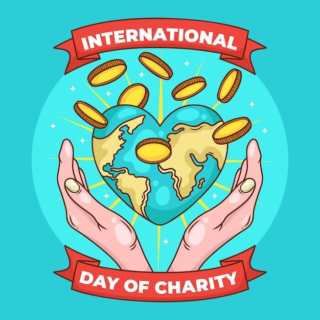 Dia internacional de caridade com terra e moedas Vetor grátis