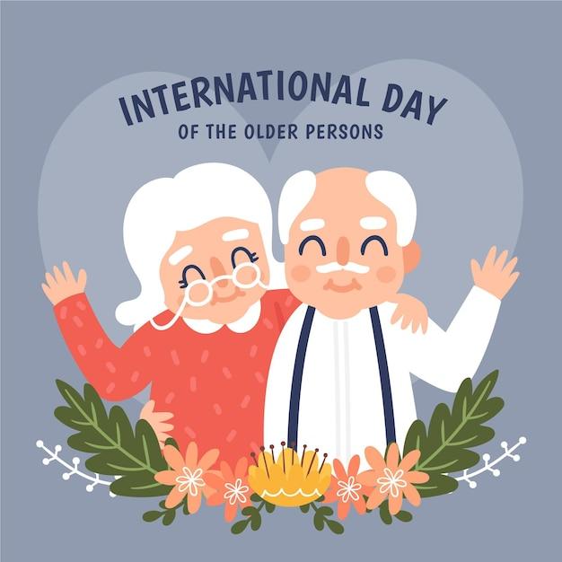 Dia internacional de fundo desenhado à mão dos idosos Vetor grátis