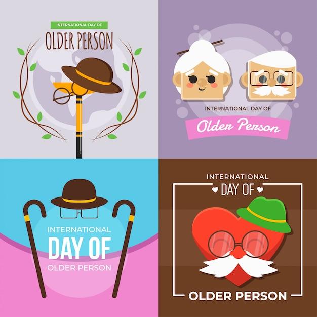 Dia internacional, de, pessoa mais velha, ilustração Vetor Premium