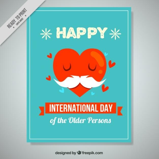 Dia internacional de pessoas mais idosas cartão bonito do coração com bigode Vetor grátis