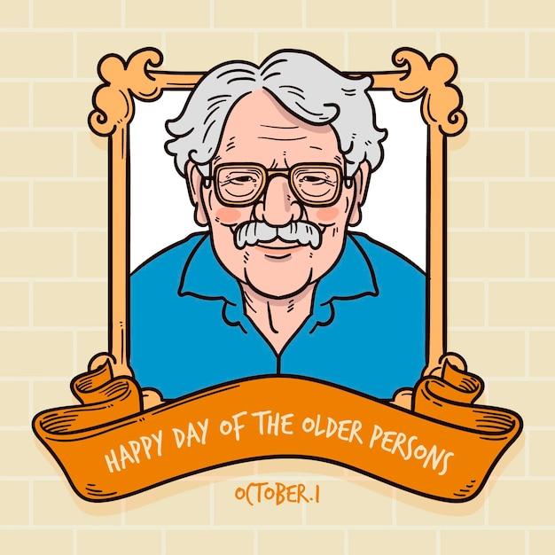 Dia internacional desenhado à mão de pessoas mais velhas Vetor grátis