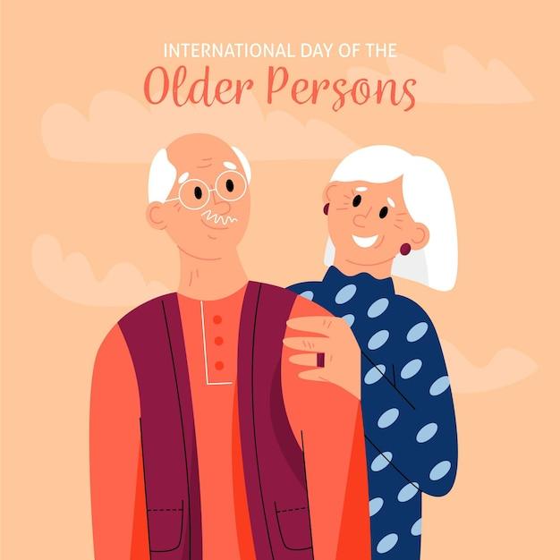 Dia internacional desenhado à mão dos idosos com os avós Vetor grátis