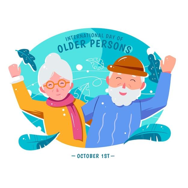 Dia internacional desenhado à mão dos idosos Vetor grátis