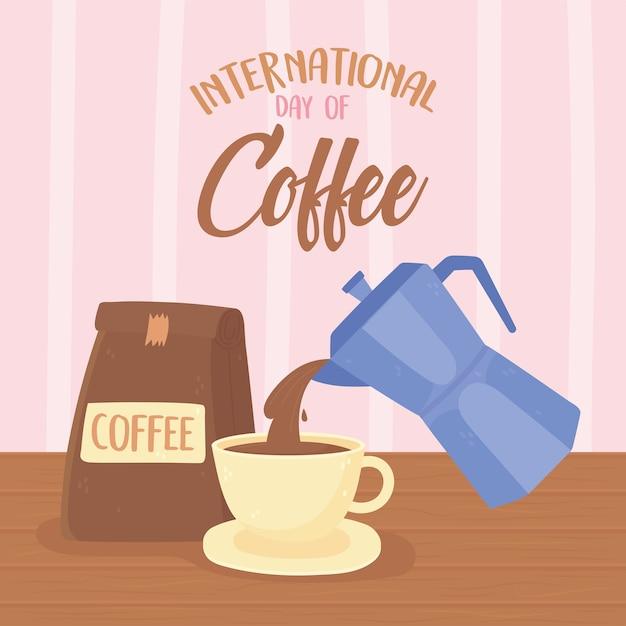 Dia internacional do café, chaleira servindo na xícara e produto embalado Vetor Premium