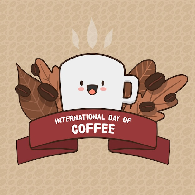 Dia internacional do café desenhado à mão design Vetor grátis
