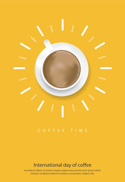 Dia internacional do café ilustração em vetor de pôster Vetor grátis