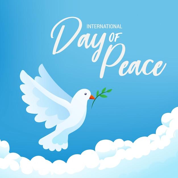 Dia internacional do cartaz da bandeira da paz com pássaro e ramo de oliveira brancos no céu azul claro, ilustração. Vetor Premium