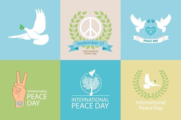Dia internacional do cartaz sobre a paz Vetor Premium