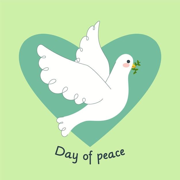 Dia internacional do design plano de fundo de paz com pombo Vetor grátis