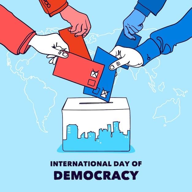 Dia internacional do fundo da democracia com as mãos e as urnas Vetor grátis