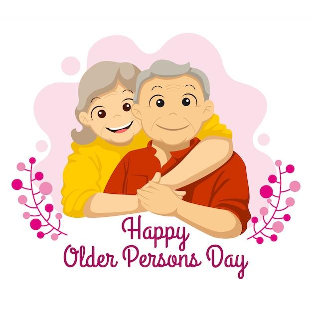Dia internacional do idoso. vovô e vovó abraçaram a ilustração Vetor Premium