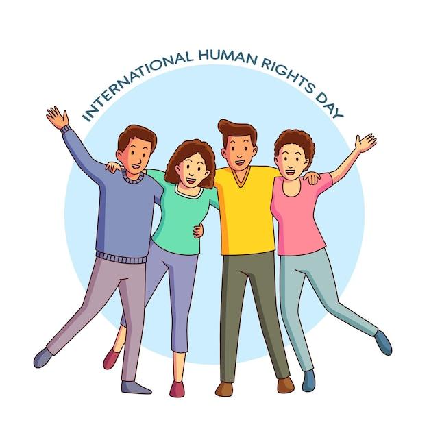 Dia internacional dos direitos humanos desenhado à mão Vetor grátis