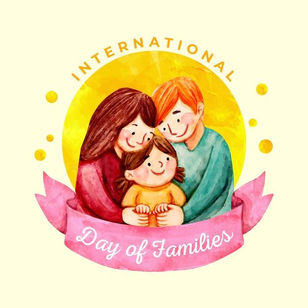 Dia internacional em aquarela das famílias Vetor grátis