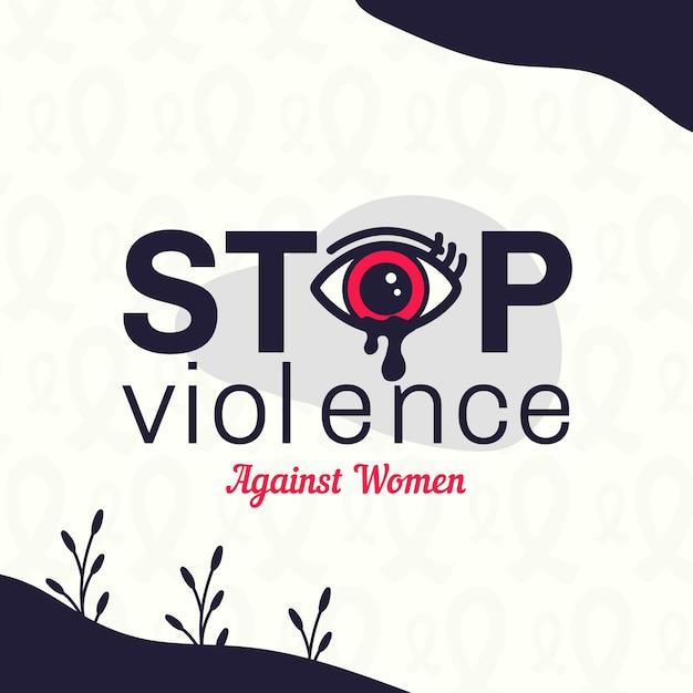 Dia internacional para a eliminação da violência contra mulheres com fundo de olhos chorando Vetor Premium