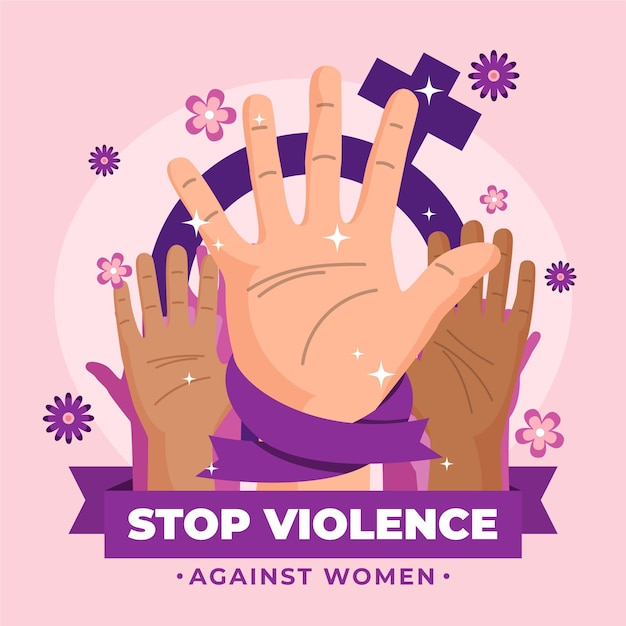 Dia internacional pela eliminação da violência contra as mulheres Vetor Premium