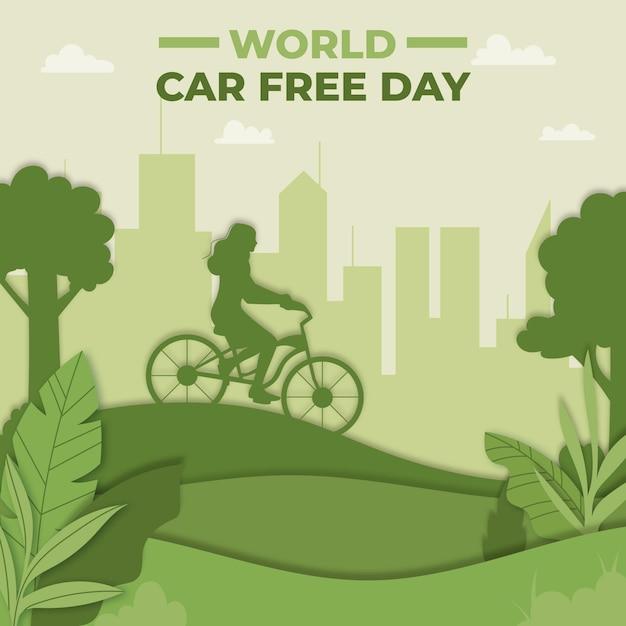 Dia livre do carro mundial de design plano em estilo de jornal Vetor grátis