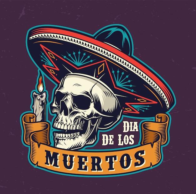 Dia mexicano de rótulo vintage morto Vetor grátis